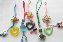 Crimeajewel Mobile / Assorted colorful dangles for mobiles and bags.