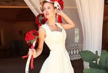 Wedding: Dresses / Length: tea/knee/cocktail // Color: white w/red // Accessories: rustic, succulents, red poppies, feathers, birdcage