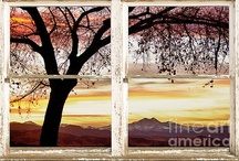 Picture Window With a View Canvas Art / Views through windows.  Windows to the World Nature Landscapes - Now you can add a window with a view to any room with these beautiful nature landscape picture windows, Fantastic  fine art canvas art wrap for your home or office.