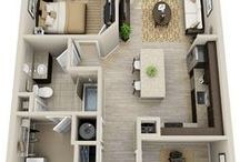 floor♥houseplan / A scale diagram of the arrangement of rooms in one story of a building.