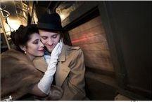 Photomuse: Vintage Train Engagement  / Vintage train engagement sessions by Photomuse.com.