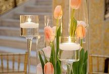 Bryllup - lys og blomster til bord / Blomster og lys til bordet Både hver for sig og samlet