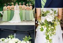 Bryllup - forår og grøn / Alt med grøn, blomster, bord, kjoler osv.
