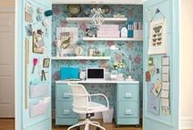 Office/Craft Rooms / Beautiful office designs and craft room organization. Perfect for sewing rooms, hobby room, craft organization and office organization. / by Marie {Blooming Homestead}