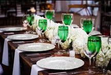 Early Fall, Emerald & White Wedding / early fall, tented, at-home white & green wedding. chandeliers, emerald, white, silver