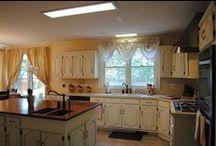 Kitchen Ideas / kitchen inspiration, tile, backsplash, appliances, color ideas, decor, cabinets, chalk paint, white kitchen, wine, wet bar, coffee, and countertops!