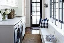 Laundry Room Ideas / laundry layout, inspiration, storage, shelves, and table.