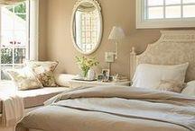 Bedroom Ideas / Master bedroom, guest bedroom, dream bedroom, decor, color, layout, DIY, paint, comforter, bed frame, wood floors, and windows.