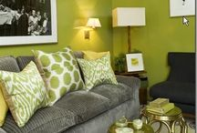 Chartreuse and Gray in Home Decor / by Leslee Walser