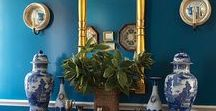 Blue and White / the main colors of my living room: blue & white porcelain, peacock, robin's egg blue