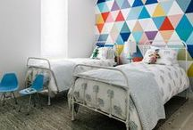 KIDS ROOMS - GEOMETRIC TREND / Geometric, triangles and tribal accents in kids rooms, nurseries and interiors. Fun ideas for decorating touches with a geo edge.