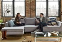 Meet the Asher Sofa / The Asher sofa is designed to play a starring role. The tapered sofa arms cut a distinct profile, as does the larger-than-standard chaise lounge, which is ideal for stretching out. Thanks to its high-resilience foam seating and removable down-filled back cushions, Asher will maintain its shape and comfortability for years.