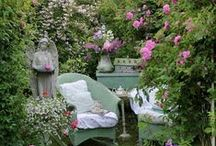 In My Fantasy Garden / The beauty of flower gardens, work hard, then relax in the magical setting and enjoy the result of your labor.....along with the incredible blessings of Mother Nature.   All of these would be  welcome components of my personal fantasy garden.