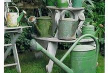 The Garden Waters / I love and collect miniature watering cans, this board represents that collection in full size, along with all manner of water gardening.....and water features for the garden.