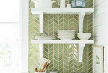 Kitchens + dining rooms / Decorating ideas, design inspiration and DIY projects for kitchens, breakfast nooks and dining rooms. White kitchens, neutral kitchens, green and aqua kitchens, kitchen islands, cabinets, kitchen counters (quartz and granite), kitchen storage, kitchen seating, kitchen backsplash (subway tile) and kitchen light fixtures from Green With Decor and more. Coastal kitchens, beachy kitchens, farmhouse kitchens, rustic kitchens, cottage kitchens and lake house kitchens.