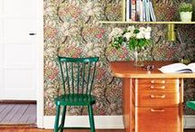 home / wall patterns / Interiors and home decor that I love! Chesterfield armchairs, walls covered with picture frames, blue velvet, oriental rugs, odd chairs, wooden floors, patterned wallpapers, old things and everything blue. Eclectic, boho, vintage, Scandinavian and William Morris.