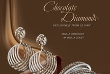 2014 Color Trend - Chocolate Cravings™ / Chocolate Diamonds®, exclusively by Le Vian®, top the list in gemstones with Chocolate Quartz® and Chocolate Pearls® gaining momentum. Looks include the classic Le Vian® Gladiator® design for Chocolate Diamonds® as well as new design trend elements with cushion cut Chocolate Quartz® accented with contrasting cushion halo.