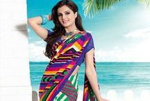 Monica Bedi Printed Sarees / by Cbazaar - Delivering Happiness