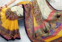 Abstract Art Silk Sarees / Charm everyone with this abstract art silk sarees in festive colrs.Shop this collection at www.cbazaar.com