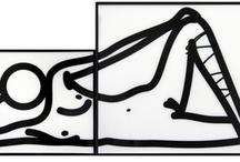 Julian Opie - Galerie Laurent Strouk Paris / Julian Opie est né à Londres en 1958. Ses œuvres se caractérisent par des formes extrêmement minimalistes. Par de larges traits noirs, il redessine les contours de corps, de portraits, de paysages à partir de photographies scannées par ordinateur. Peintures, sculptures, films d'animation…les résultats peuvent varier à l'infini. Certaines de ses oeuvres, gigantesques, ont été projetées sur des batiments publics (l'hôpital St Bart à Londres, tournée Vertigo Tour du groupe de rock U2 ).