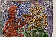 Robert Combas - Figuration Libre - galerie Laurent Strouk Paris / «Ma peinture c'est du rock».  Ainsi, résume-t-il son œuvre. Robert Combas est un artiste français né en 1957. Fou de rock, la musique fonde véritablement son rapport à la peinture. Son œuvre, inspirée du graff et de la bande dessinée est à la fois désinvolte, drôle et sensuelle.  Combas n'est pas prisonnier d'une forme de peinture; son œuvre est en perpétuelle évolution…évolution qui a fait l'objet d'une première grande rétrospective au musée d'art contemporain de Lyon en 2012.