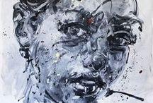 Philippe Pasqua - Galerie Laurent Strouk Paris Matignon / Philippe Pasqua est né à Grasse en 1965.  Cet artiste autodidacte est un peintre portraitiste avant tout.   Le vaudou et les fétiches ont marqué le début de sa carrière. Ceux-ci font maintenant place aux portraits, aux nus et aux vanités. Ses techniques sont multiples : huiles sur toile, dessins, sculptures en bronze ou en marbre et même tatouages.