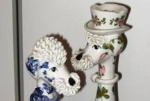 Spaghetti poodles and cats, Italian, 1950s / I collect these 1950s Italian poodles - but they are very hard to find.  They have Italy written in black on the base.  I like this type best - regular curls, smooth skin