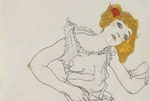 Art - Egon Schiele / Egon Schiele (German: [ˈʃiːlə] ( listen) ƩEE-lə; June 12, 1890 – October 31, 1918) was an Austrian painter. A protégé of Gustav Klimt, Schiele was a major figurative painter of the early 20th century. His work is noted for its intensity, and the many self-portraits the artist produced. The twisted body shapes and the expressive line that characterize Schiele's paintings and drawings mark the artist as an early exponent of Expressionism.   / by Niki Dague
