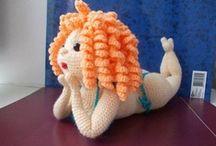 Crochet dolls.