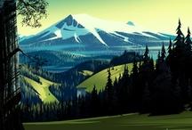 recherches graphiques: paysages ruraux / by Ywana