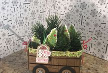 Stampin' Up craft ideas / I made this adorable little wagon using the Crate Framelits in the Stampin' UP Annual Catalog.  Instructions will be posted on my blog or my Something 4 Everyone FB page.  www.something4everyone.stampinup.net #Stampin'UP