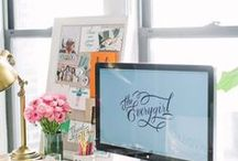 Pretty home office decor / cute, chic, stylish, pretty... all the inspiration you need for your home office decorating project
