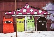 Street art / graffiti, stencil graffiti, sticker art, street installations, sculptures / by Strawberry and Hearts