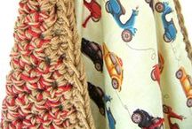 Lana y algo más / Ideas para tejer mantas uniendo tela con técnicas de tejido.