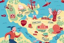 Design-Cities and Cartography / Graphic Design, Illustration, Cities, Countries, World, Maps, Cartography, Travel-themed