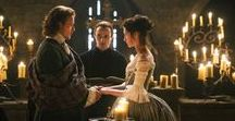 Outlander / A time travelling drama in which a WWII nurse is swept back in time to Scotland in 1743.  Books written by Diana Gabaldon and major TV series featuring Sam Heugan and Caitriona Balfe.