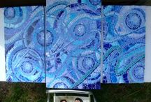 mosaic collection / hand painted tiles used to make these mosaics