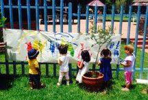 Preschool garden / Kids  outside play at the field and study Montessori preschool park