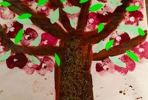 Fruit and veg paint stamping / Field Montessori toddler art