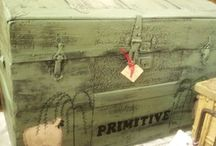 { boxed } / Leather trunks boxes suitcases luggage tack vintage antique  / by Summertime Cottage