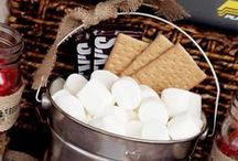"""S'mores Camping Theme Party / Everything pertaining to S'mores and a little bit of camping theme thrown in.  This went with a""""Give Me S'more!"""" Women's Event Theme with the emphasis on knowing Jesus more!"""