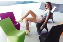 COLLECTION SLOO / Sloo Collection is the new collection of Karim Rashid for VONDOM. Sloo creates a state between liquid plastic and solid material object. Plastic loves to flow, to be amorphous. We too are amorphous so the relationship is symbiotic. The results are organic forms that softly translate into and out of flat planar surfaces.  / by Vondom