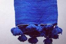 Blue / #Blue, #color, blue #rug, #pompon #blanket
