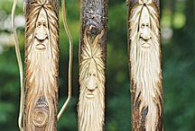 Wood carving / Green men and faces