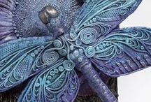 My Work - Sculptures / Fanciful sculptures made out of paper clay and mixed media.