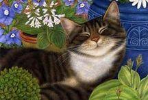 Peintre (Ann Mortimer) / Chats, lapins, fleurs (aquarelles)