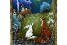 Peintre (Amanda Clark) / Animalier féerique : lièvres...