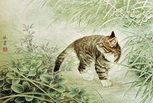 Art pictural animalier asiatique / Chats, renards, lapins, oiseaux...