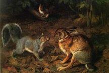 Peintre (William Holbrook Beard) / Animalier : écureuils, renards, lapins