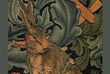 Peintre (William Morris) / Thèmes légendes moyennageuses, vitraux, motifs floraux, animaliers